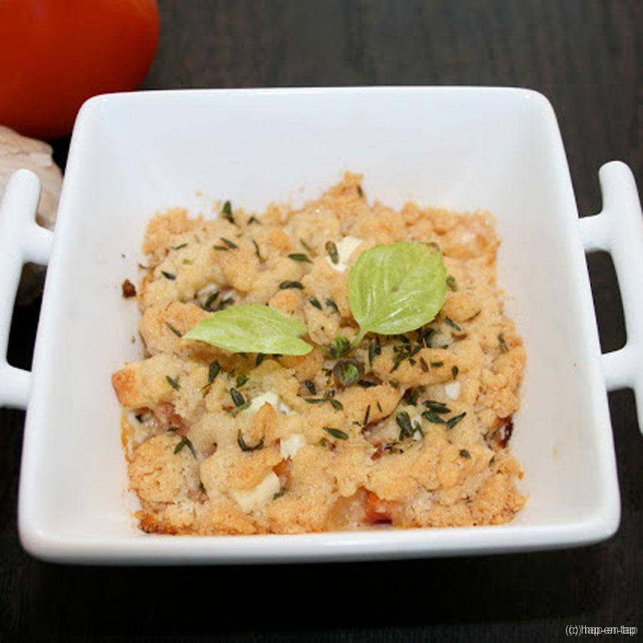 Crumble geitenkaas – tomaat