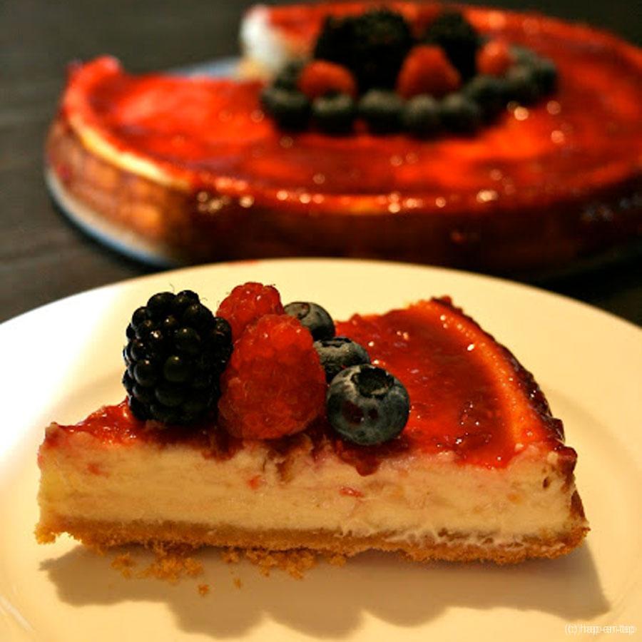 Vanille cheese cake met frambozen