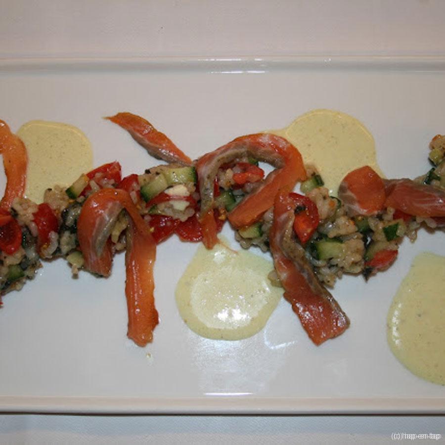 Ontbonden sushi, verse zalm