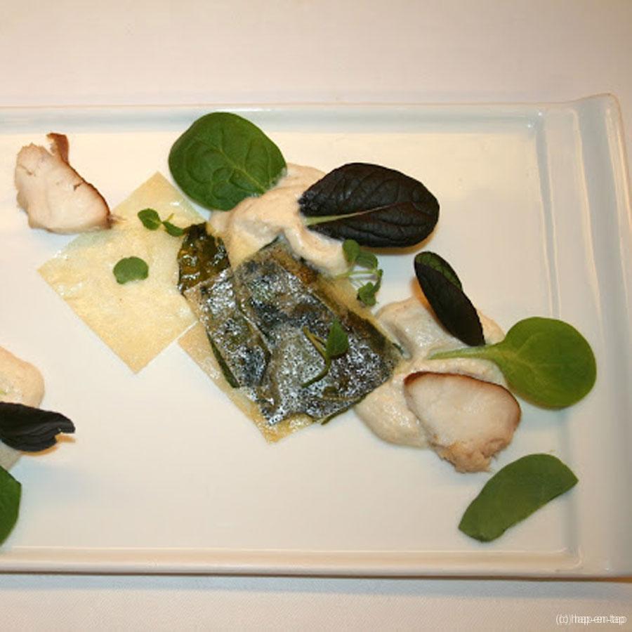 Oosterschelde paling, mousse, krokantje