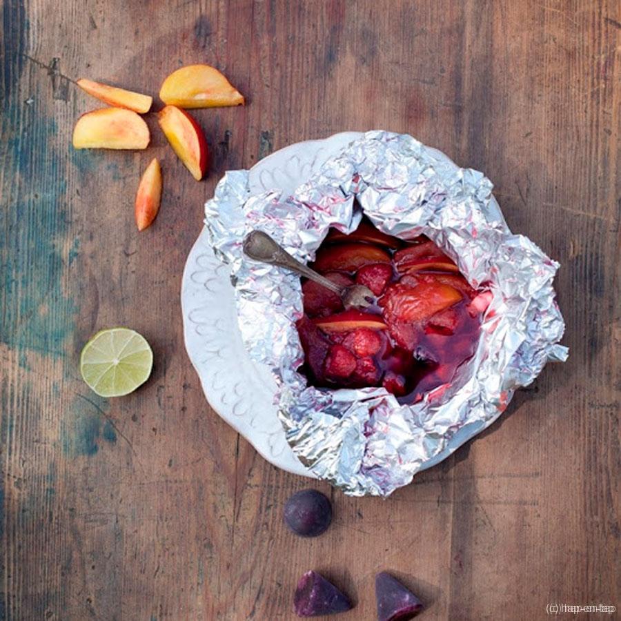 Papillotte met fruit en cuberdons