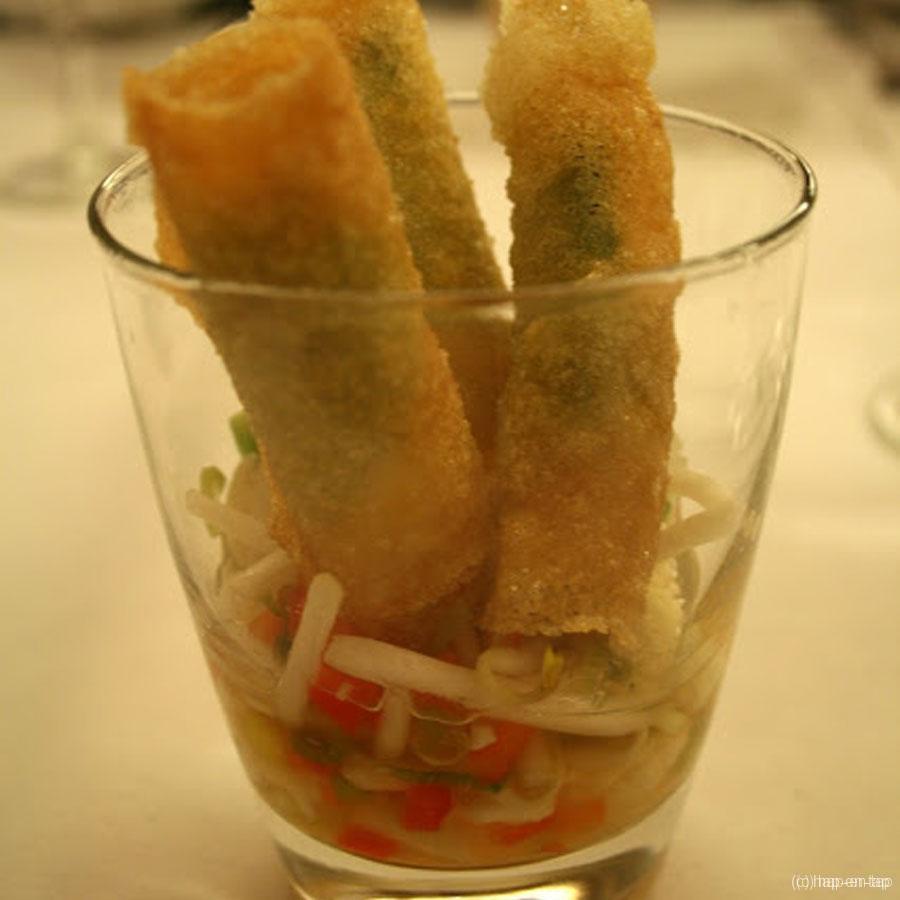 Tempura langoustines, Chinese pickles