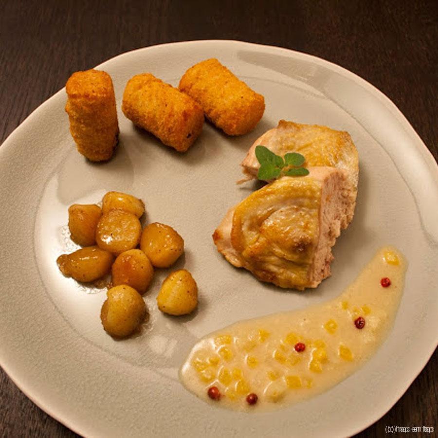 Fazantenfilet met zachte roze pepersaus en gebakken appelbolletjes met esdoornsiroop
