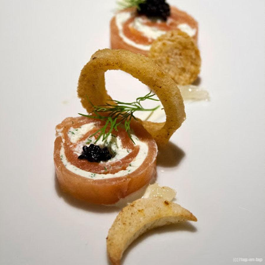 Zwarte en witte pens met noten en compote van appel - Hap en Tap