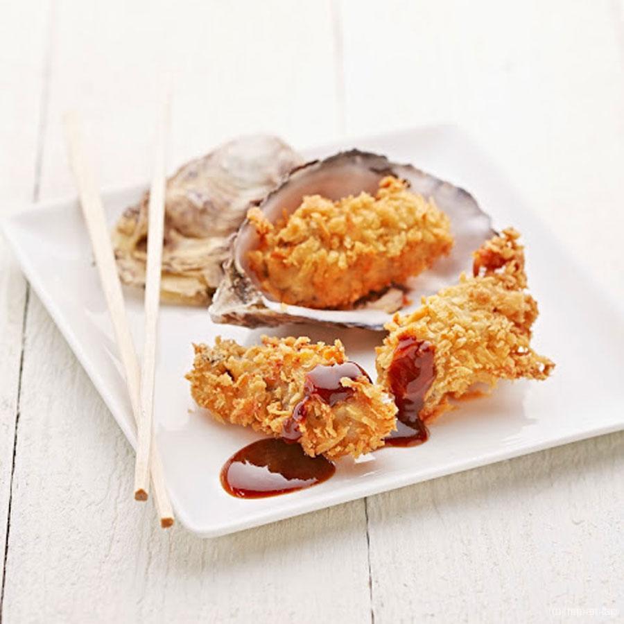 Gepaneerde oesters met Tonkatsusaus