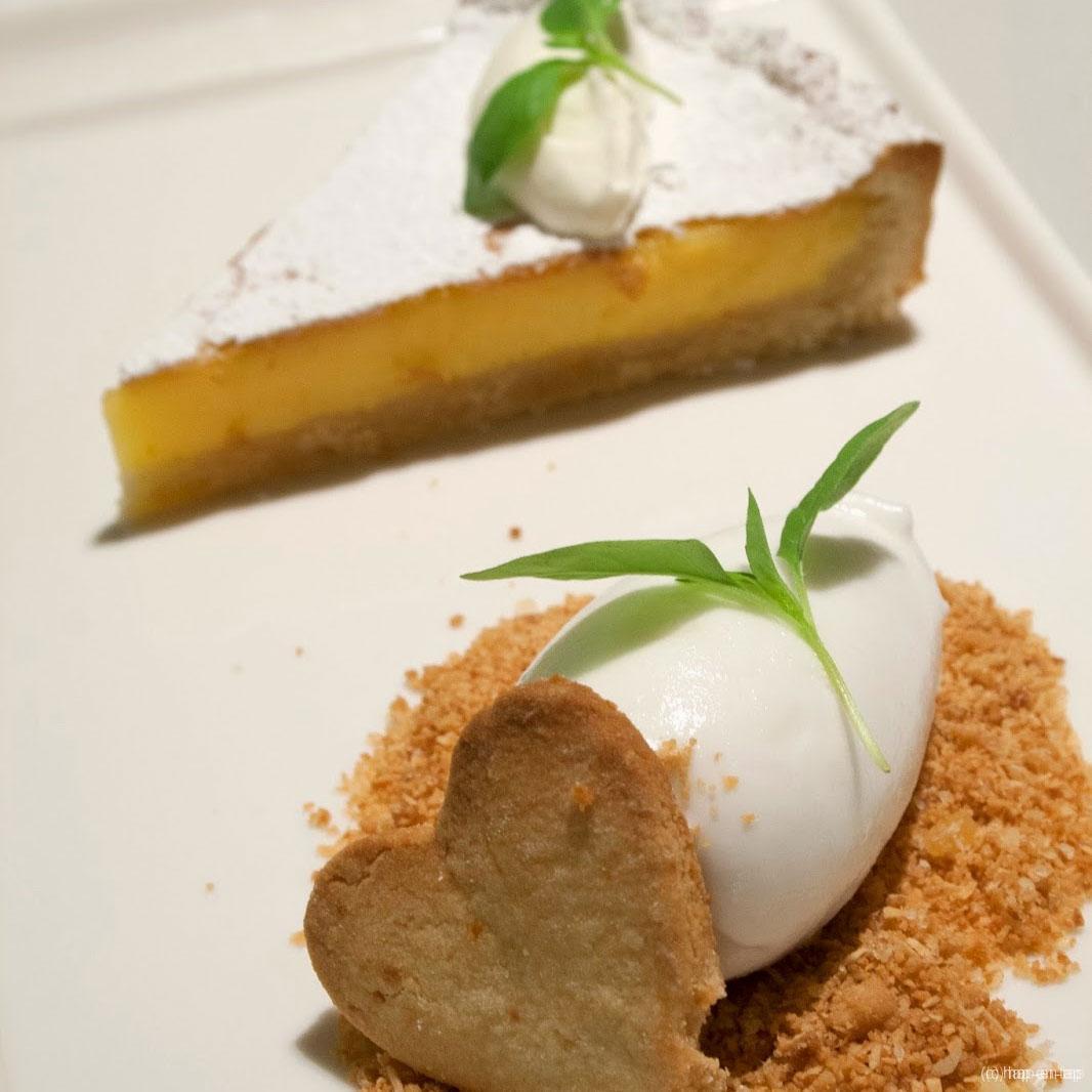 Lemon tart met citroen(gras)sorbet