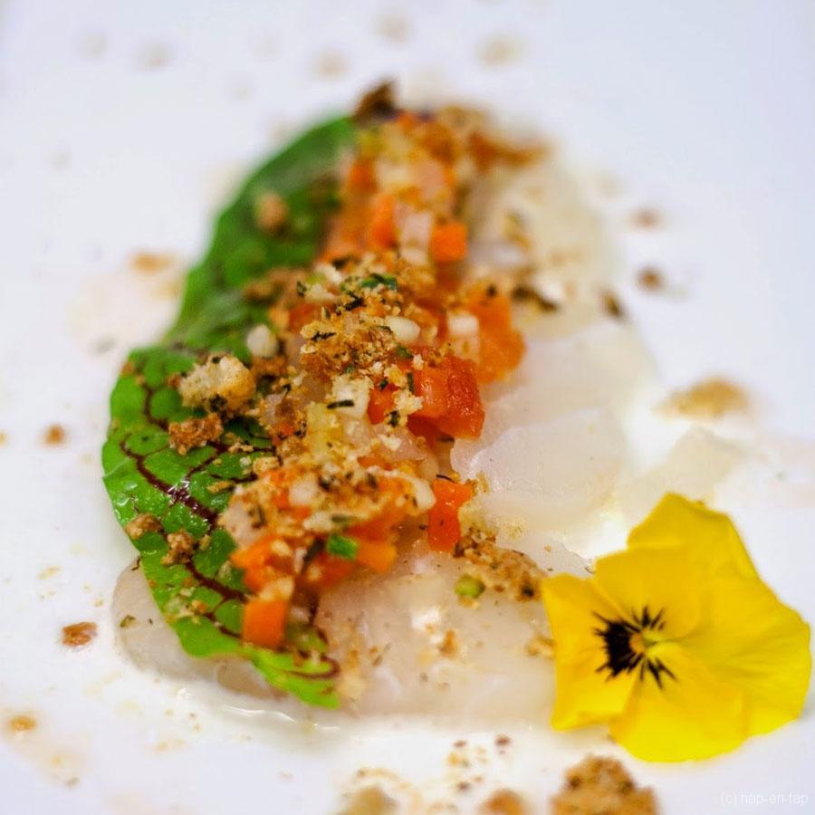 Carpaccio van kabeljauw, marinade van groentjes