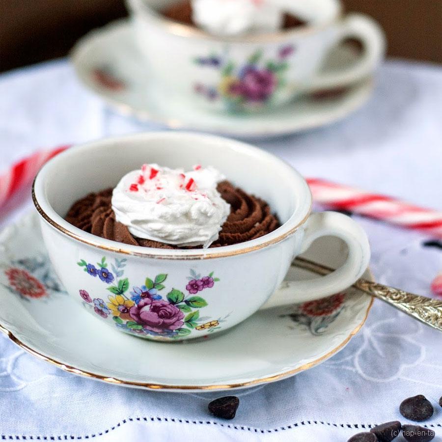 3 ingrediënten donkere chocolade pepermunt mousse