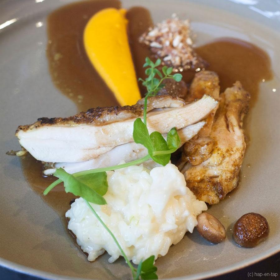 Filet van poulet de Bourgogne, risotto met bloemkool, wortelzalf