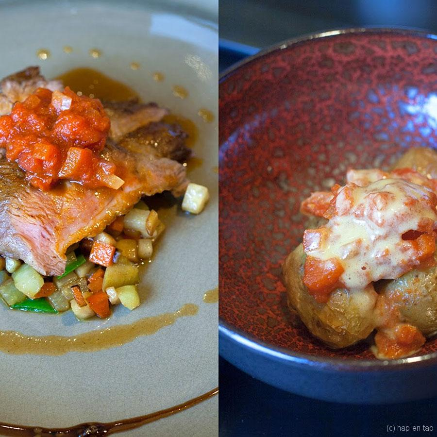 Pluma Iberico, groentenmengeling, paprika tomaat, patatas bravas