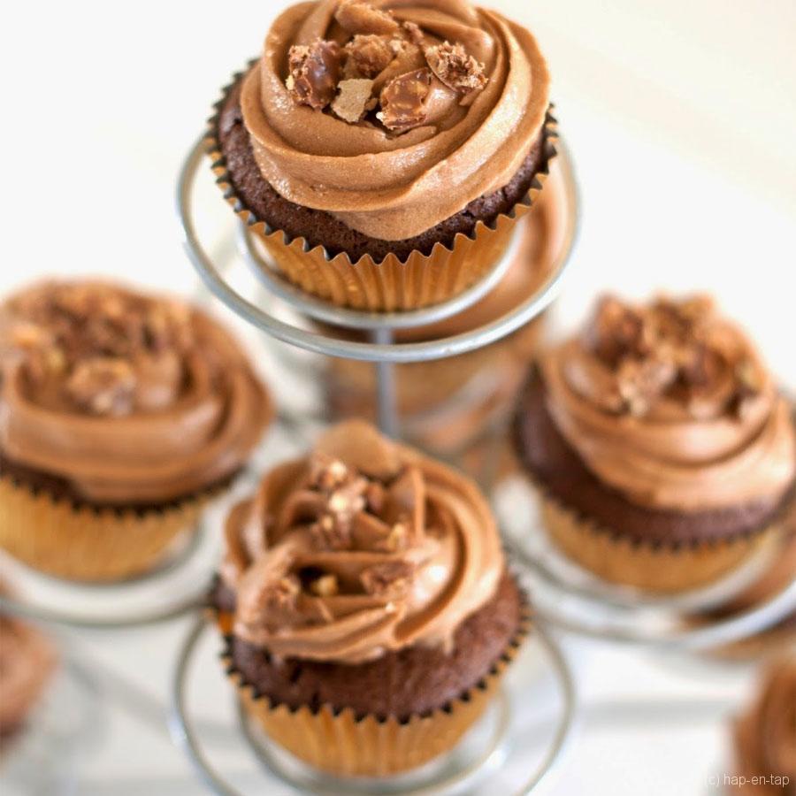 Ferrero Rocher cupcakes de luxe met Nutella frosting