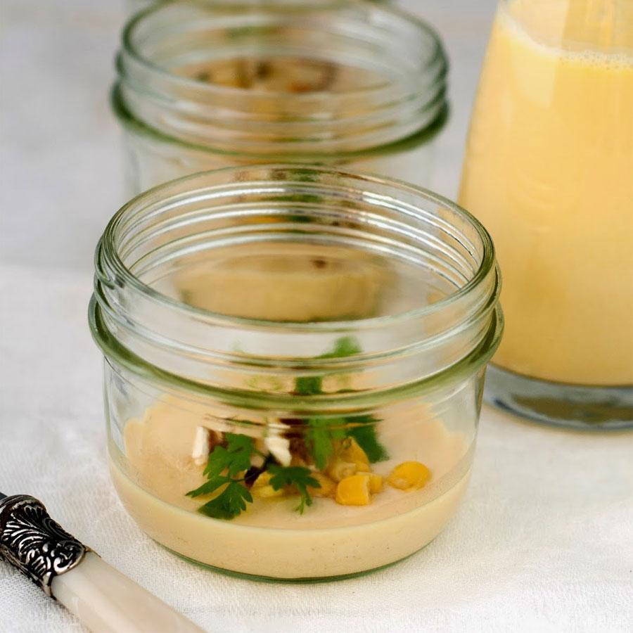 Velouté van zoete maïs met flan van witte ui (in de Moulinex Cuisine Companion)