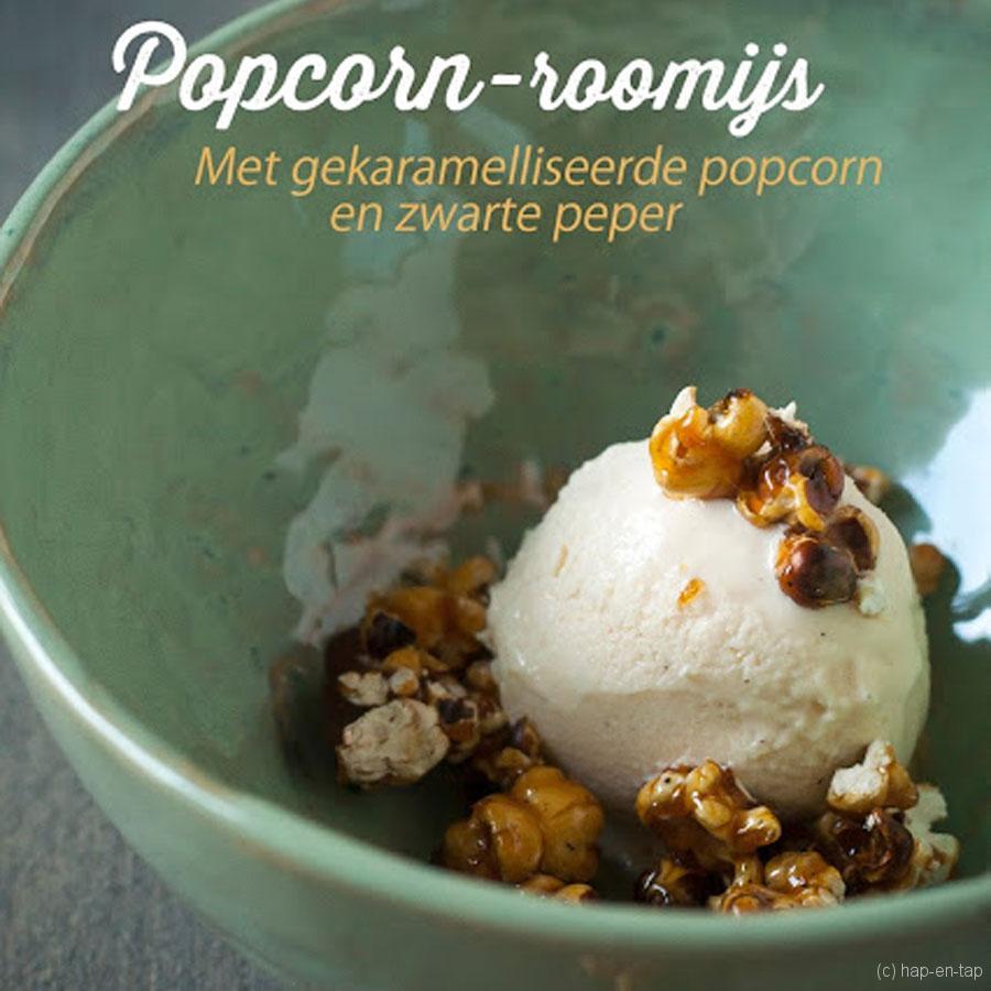 Popcorn-roomijs met gekaramelliseerde popcorn en zwarte peper