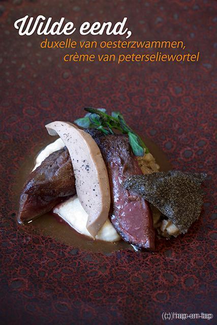 Wilde eend, duxelle van oesterzwammen, crème van peterseliewortel