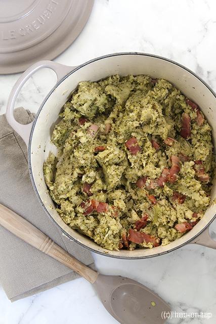 De beste belgetarische BBB-puree (bintjes, broccoli, Breydelspek)