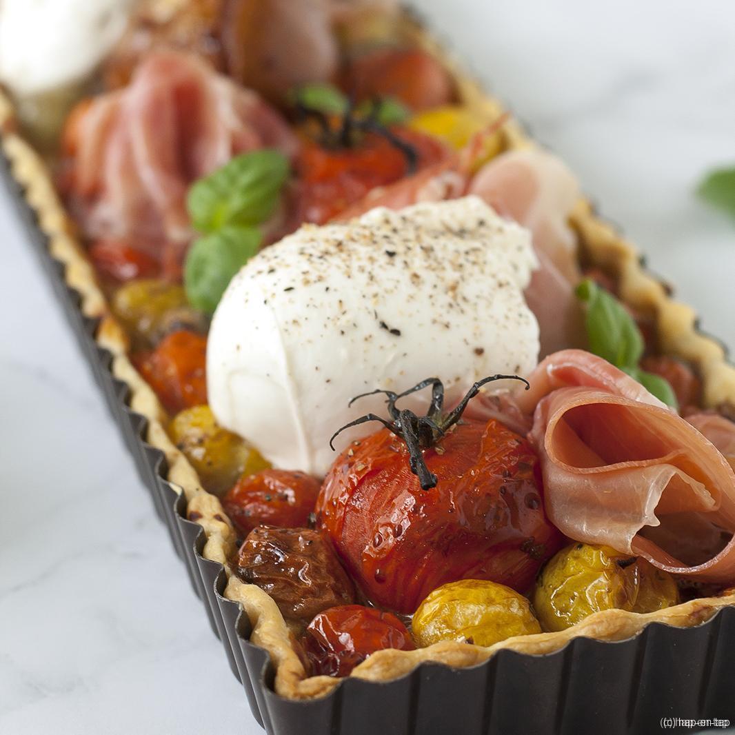 Snelle tomatentaart met balsamico, vijgen, mozzarella en Parmaham