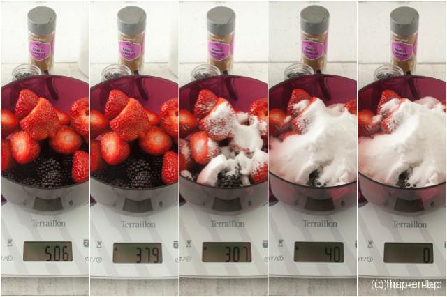 Braambessen-aardbeienconfituur en review Terraillon keukenweegschaal