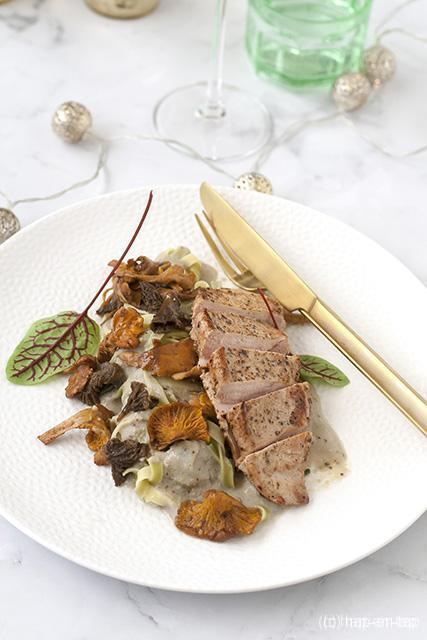 Fazant met linguini en champignon-graanmosterdsaus