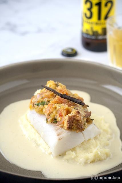 Skreihaasje, vanillestoemp en botersaus met Goose Island