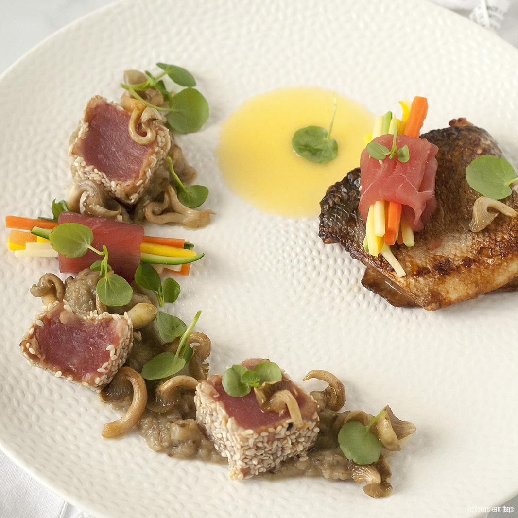 Zeebaars en tonijn met auberginekaviaar