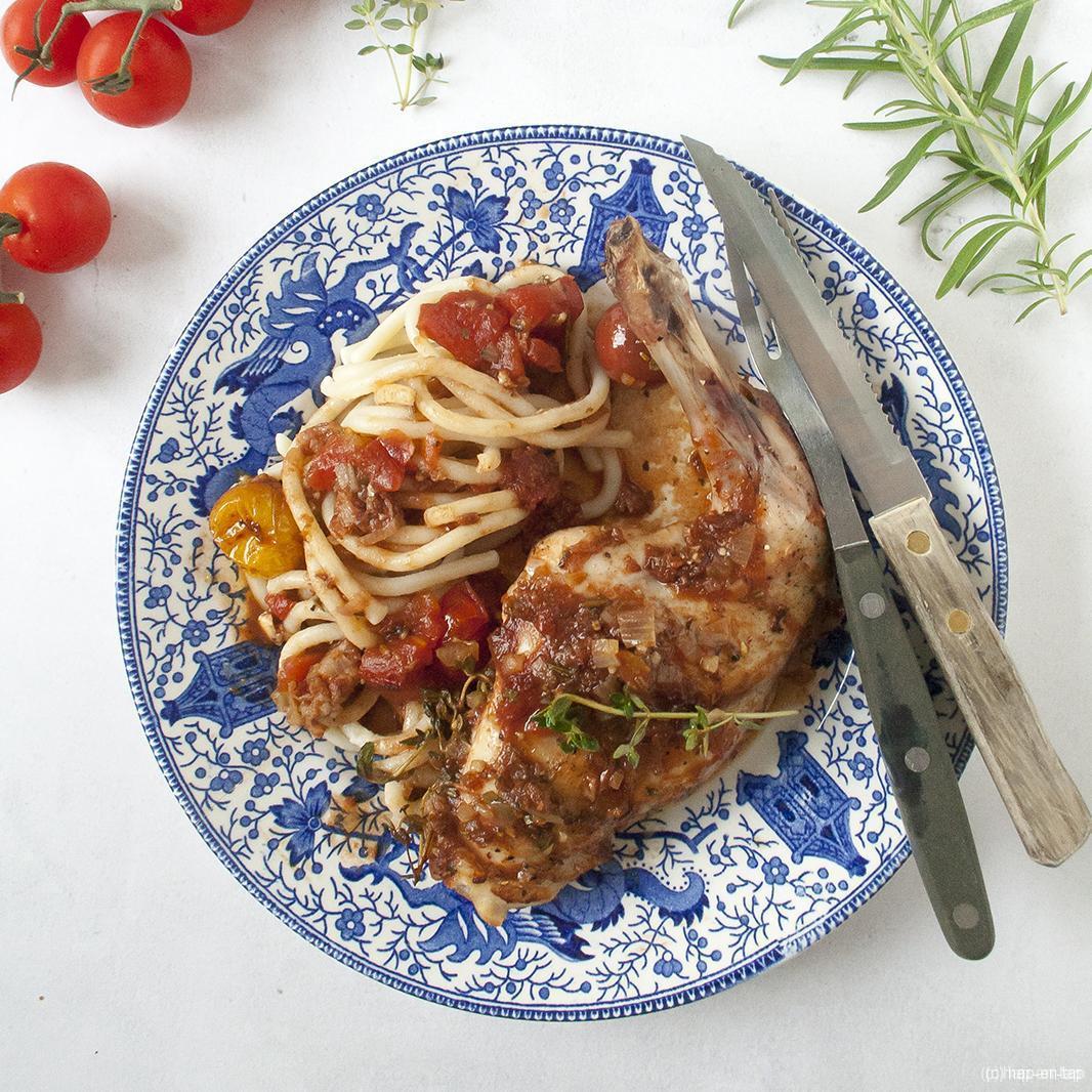 Toscaans konijn met pancetta en rozemarijn, pici