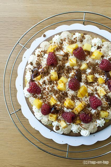 """""""Fantastik"""" taart met mango, framboos en speculoos"""