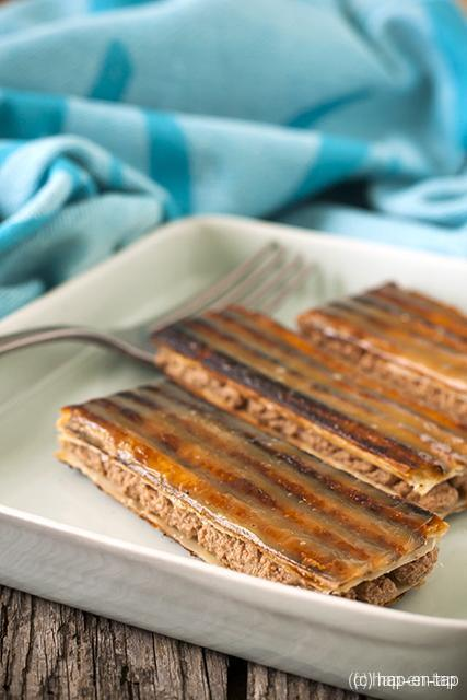 Mille-feuille 'panini style' met melkchocolade-koffieslagroom