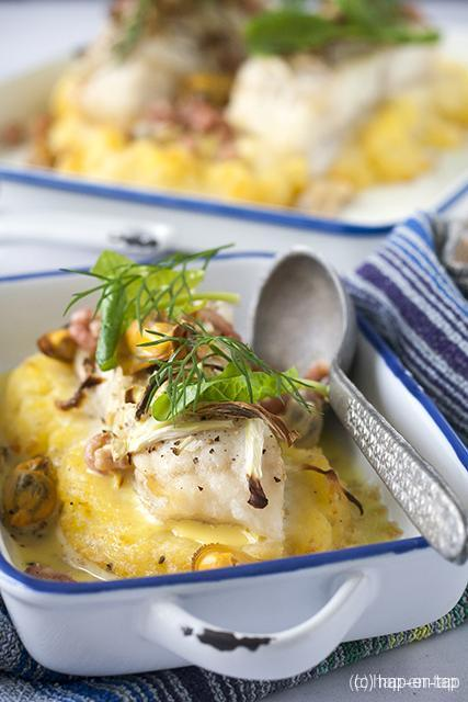 Ovenschotel met heilbot, mosselen, venkel en saffraansaus