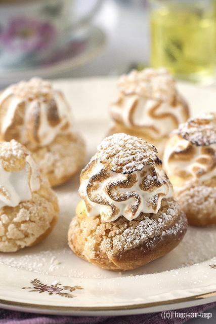Soesjes met limoencrème en Italiaanse meringue