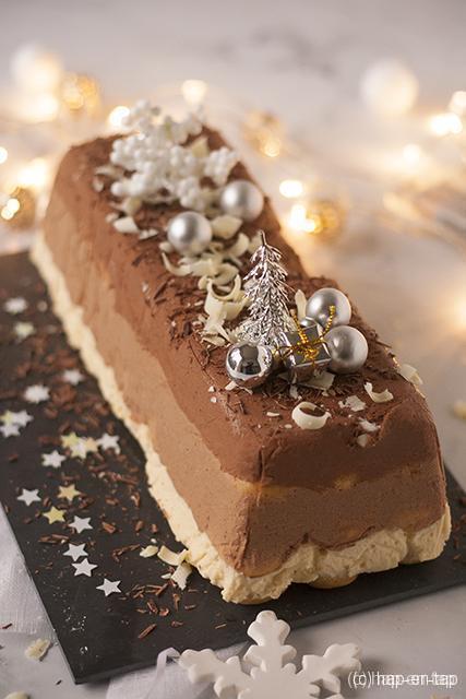 Kerststronk met 3 soorten chocolade