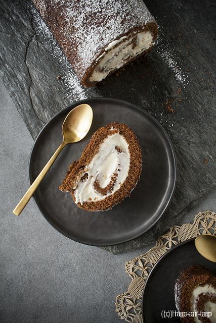 Pompoen rolcake met vanilleroomkaasvulling