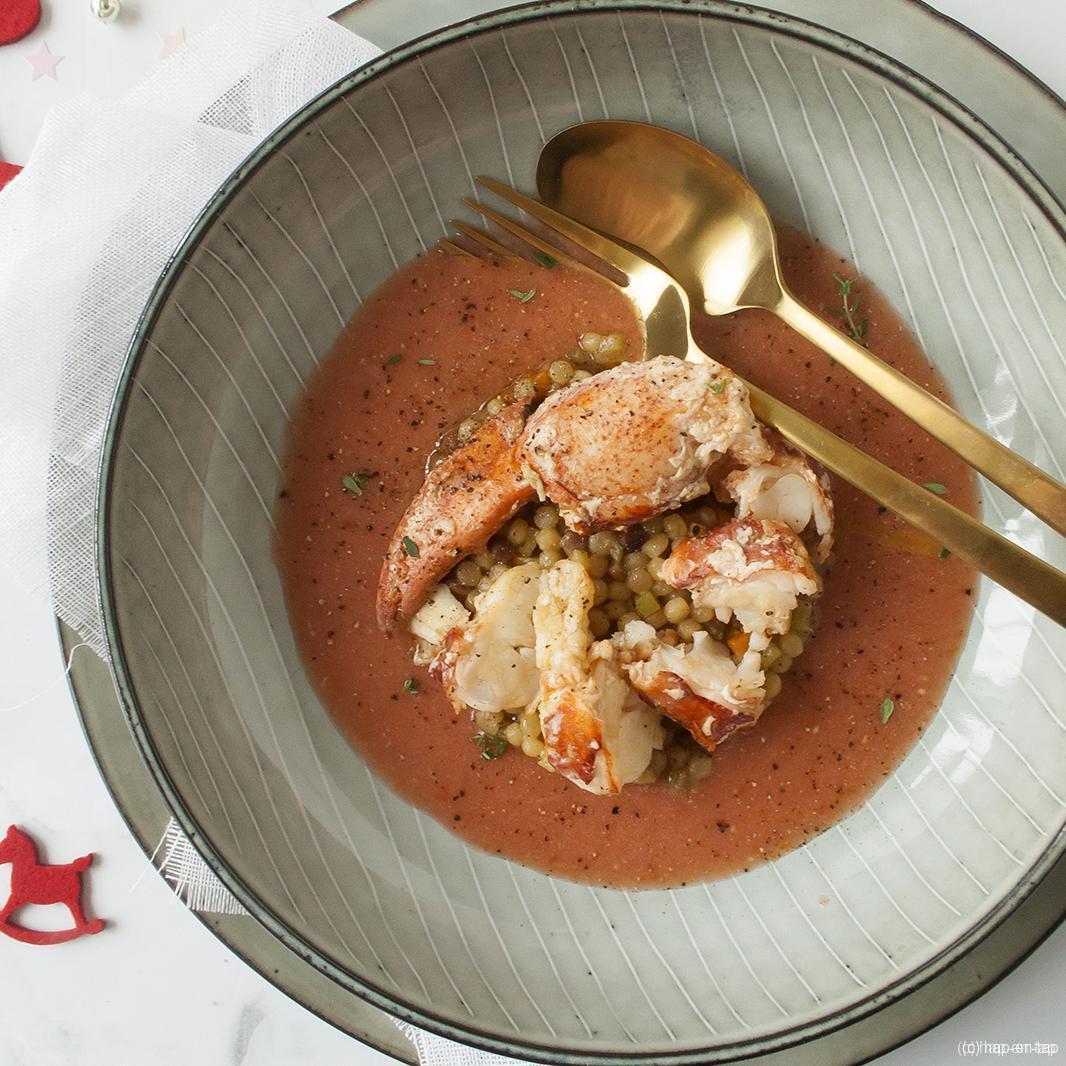 Gazpacho, kreeft, fregola sarda