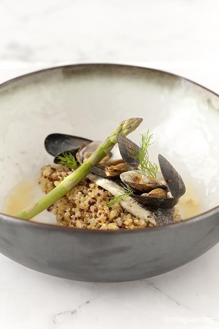 Dorade royale, venusschelpen, mosselen, quinoa