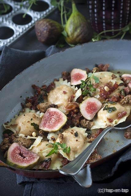 Butternut en geitenkaas ravioli