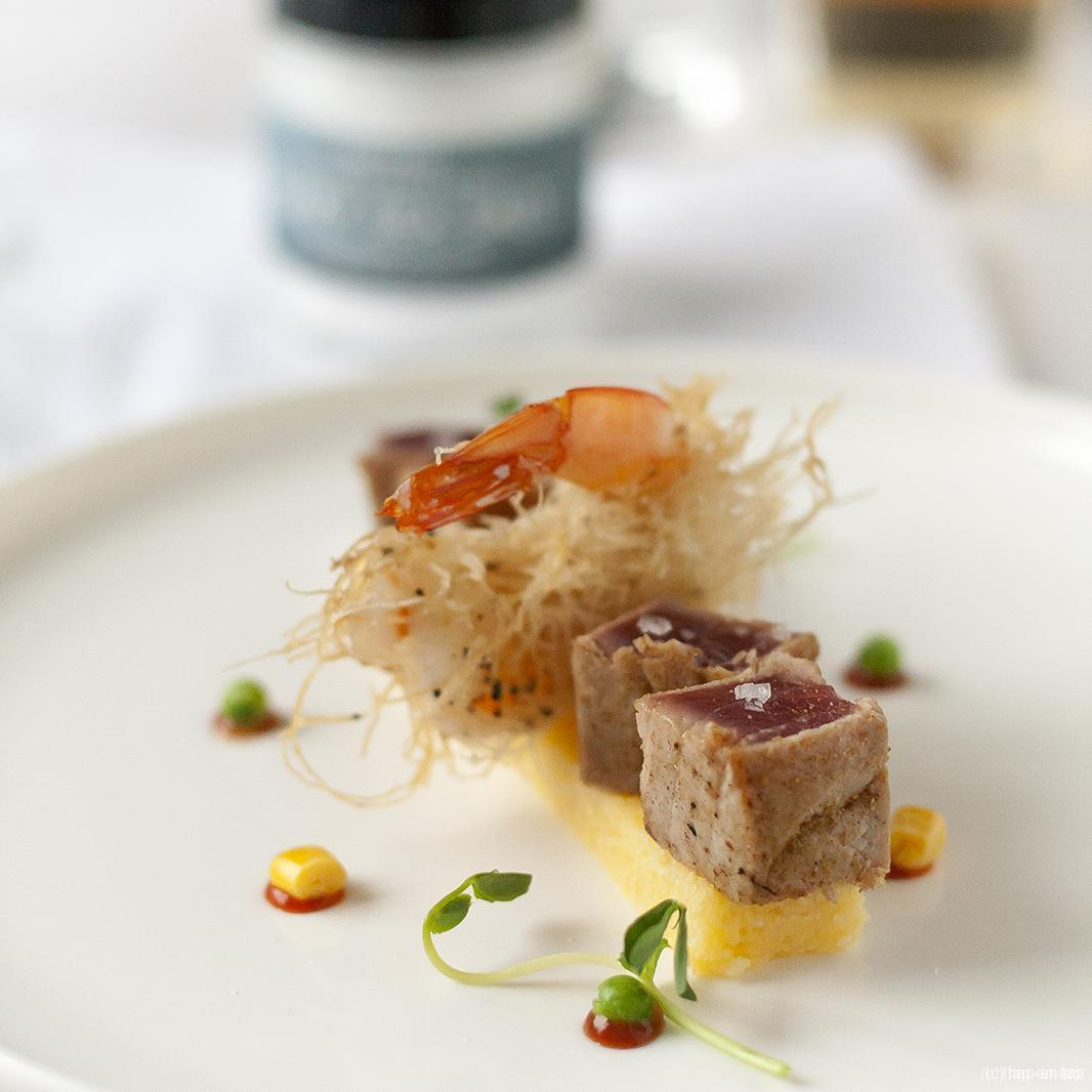Scampi's met kataifi en tataki van tonijn