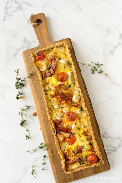 Spinazie, Brie & Gandaham taart met pecannotenkorst