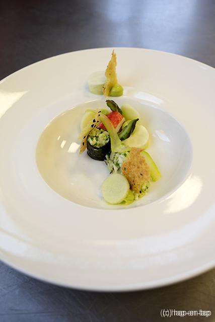King krab, avocado, kokos, groene asperge