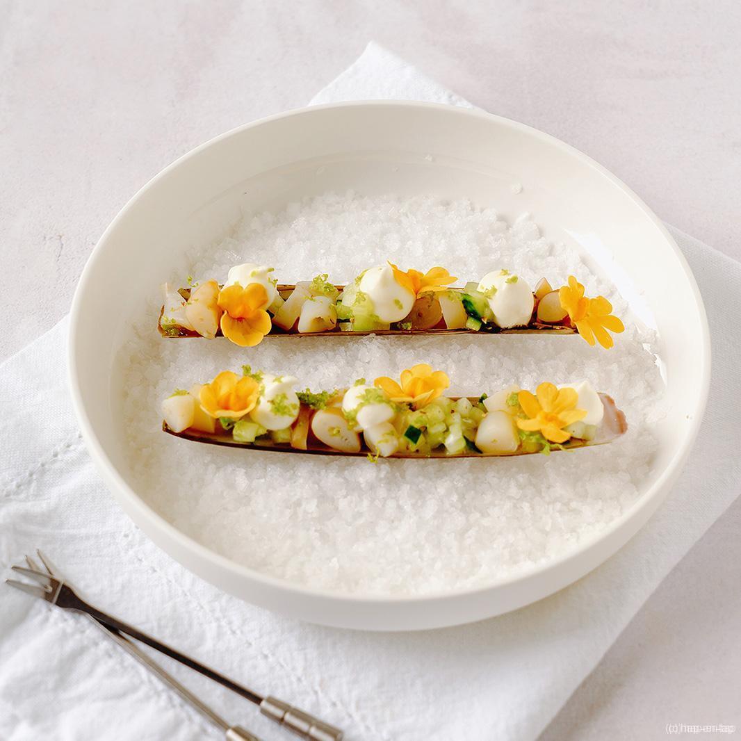 Scheermessen, komkommer, wasabi-crème