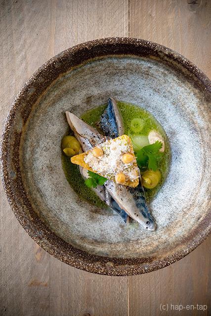 Gebrande makreel met komkommer en avocado