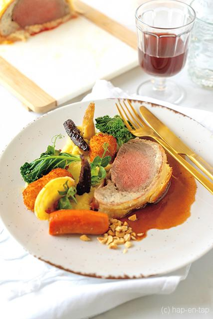 Beef Wellington, portosaus, winterse garnituren