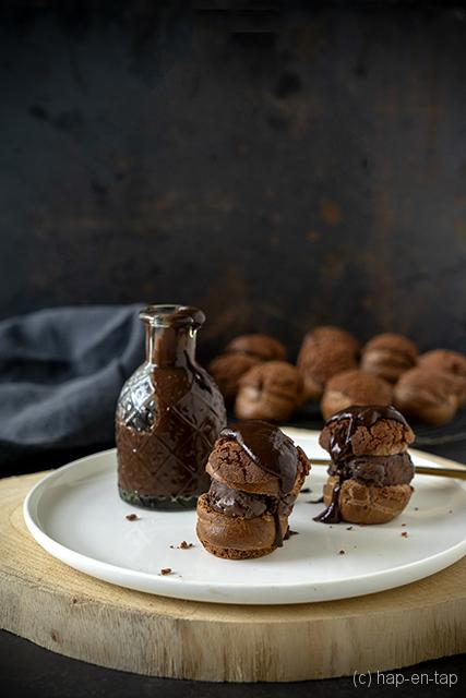 Triple chocolate profiteroles