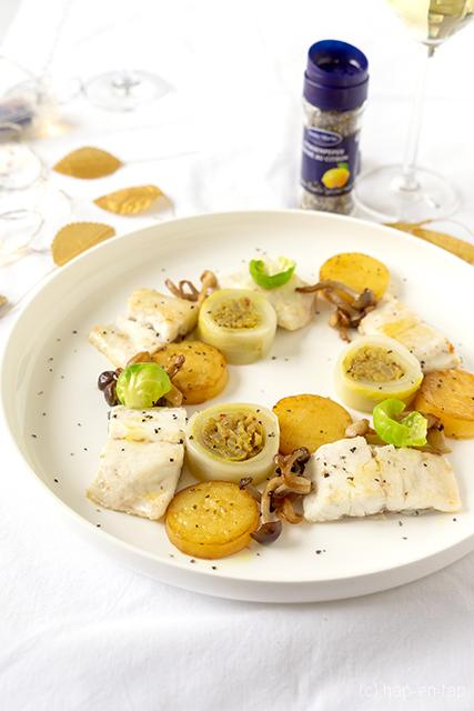 Zeebaars, mango kerrie witlof sushi, fondant aardappel