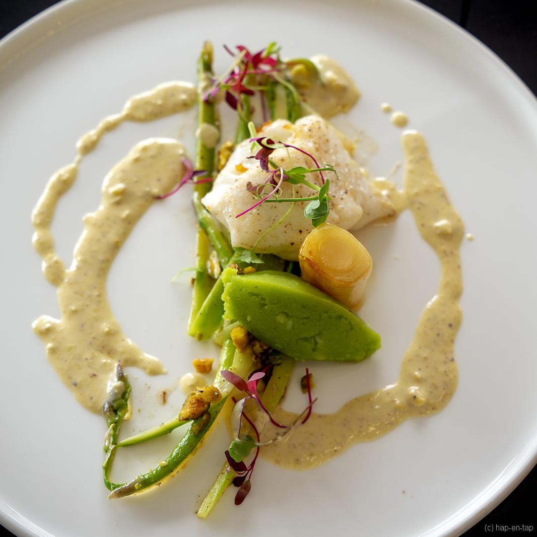Griet, prei, groene asperges, pistaches