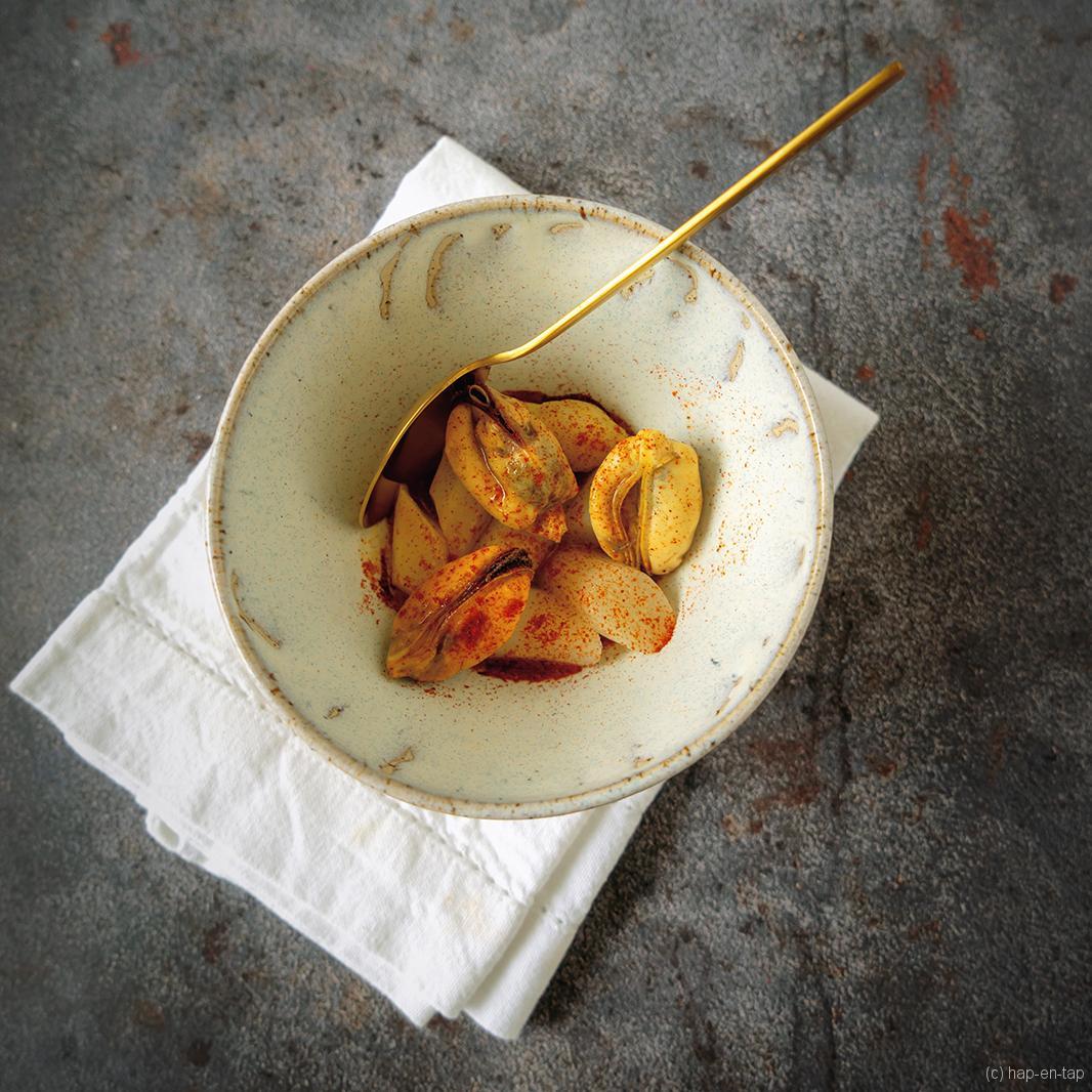 Chaud-froid van mosselen en asperges