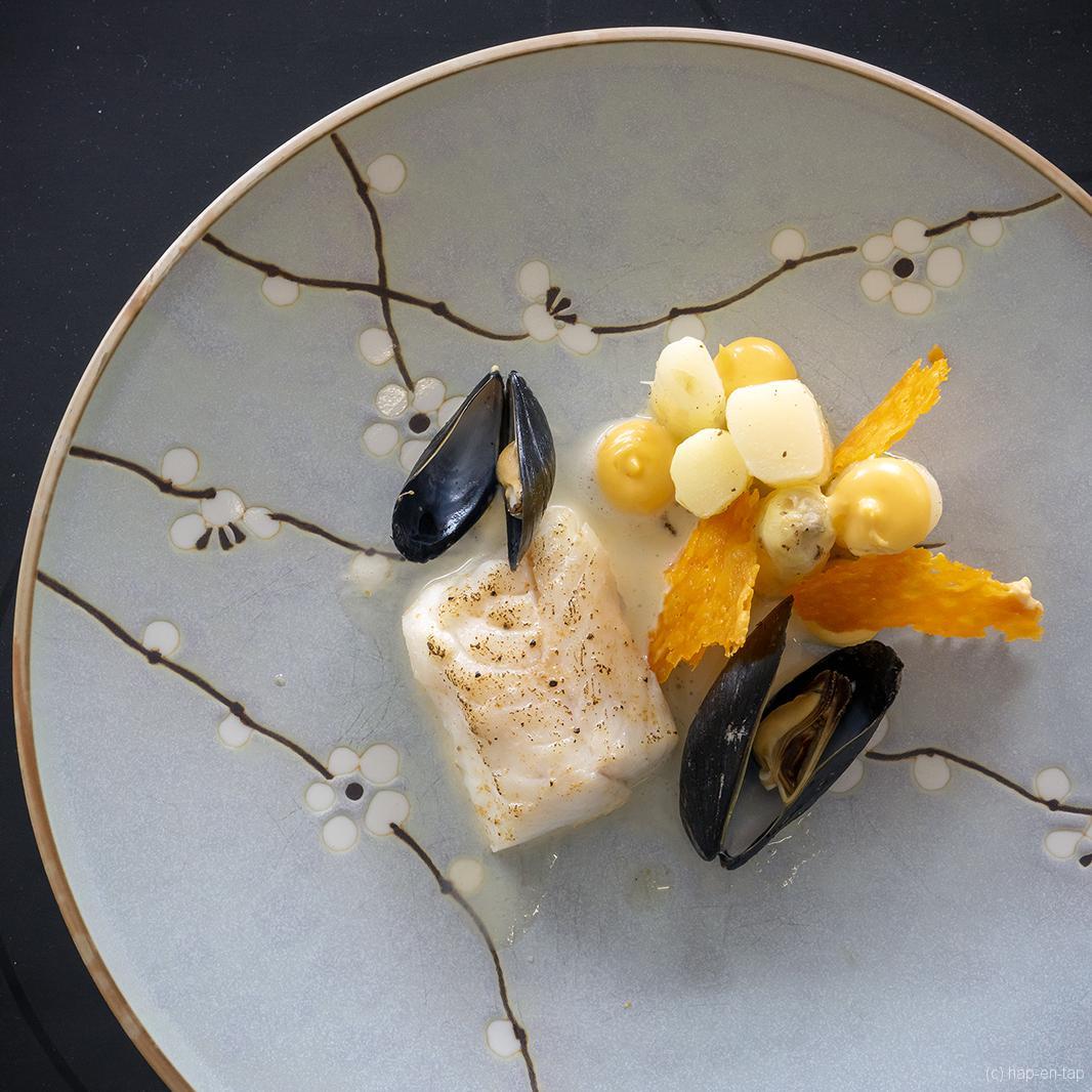 Wijting, koekje en crème van mimolette, asperges, bouchot mosselen