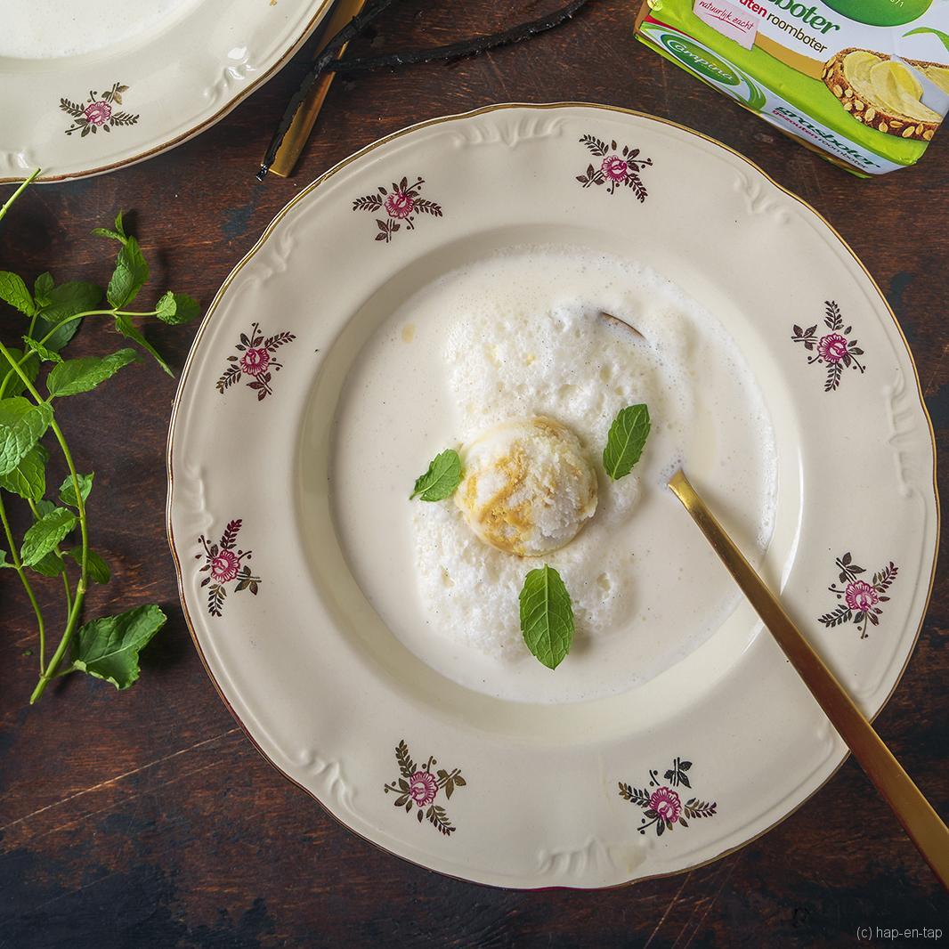 Sorbet van karnemelk, vanille & karamel au beurre salé