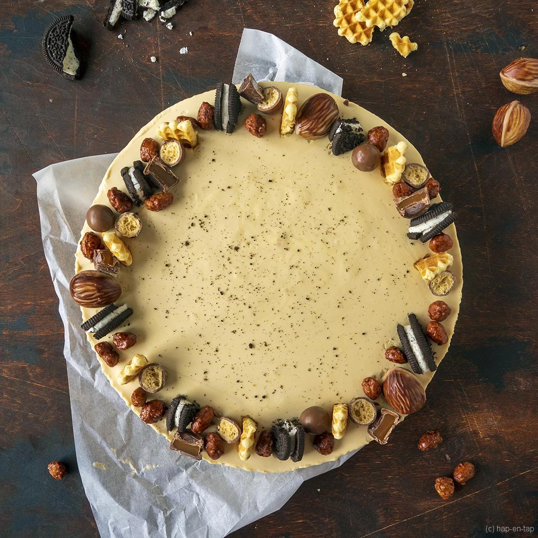 Koffie en karamel cheesecake