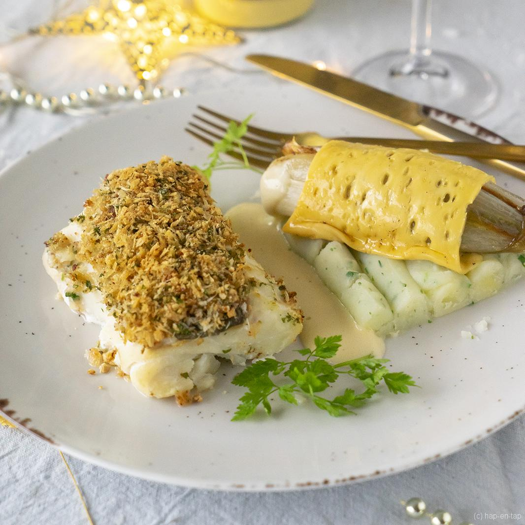 Tournedos van kabeljauw met mosterdkruidenkorstje