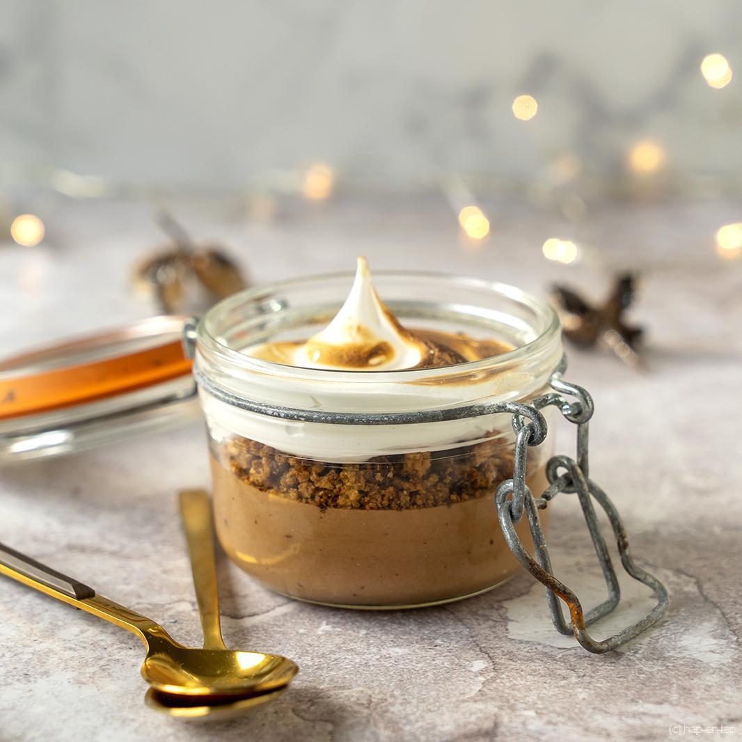 Chocolademousse met Graham Cracker crumble & gebrande meringue