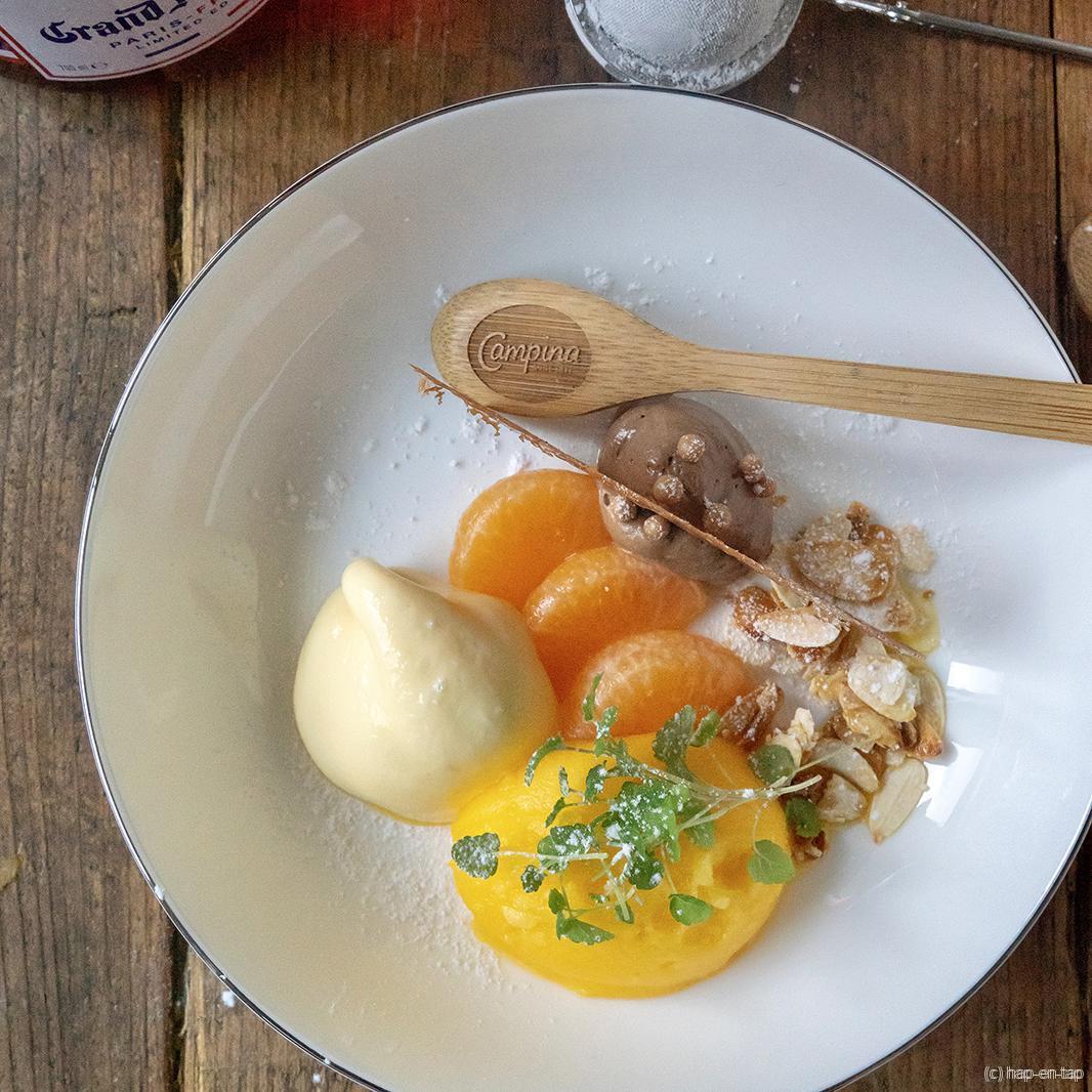 Sorbet en schuim van mandarijnen, krokante chocoladekaramel, amandelen